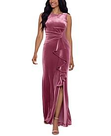 Velvet Ruffled Gown