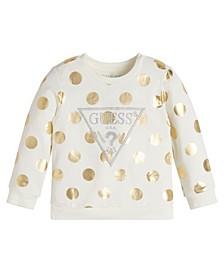 Toddler Girls Lurex Embroidered Logo Allover Print Terry Sweatshirt