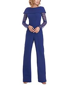 Sequin-Sleeve Jumpsuit