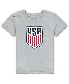 Preschool Heathered Gray US Soccer Primary Logo Short Sleeve T-shirt