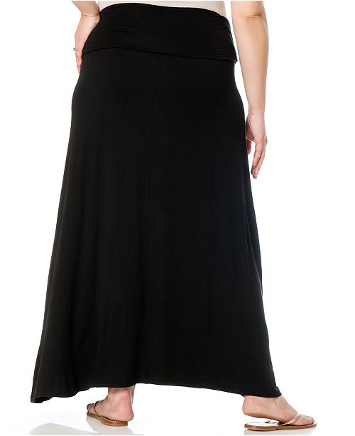 db51d334bb9e3 Motherhood Maternity Plus Size Foldover-Waist Maternity Maxi Skirt ...