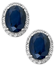Sapphire and White Sapphire Oval Stud Earrings in 10k White Gold (3 ct. t.w.), Created for Macy's