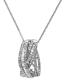 Classique by EFFY Diamond Crossover Pendant Necklace in 14k White Gold (3/4 ct. t.w.)