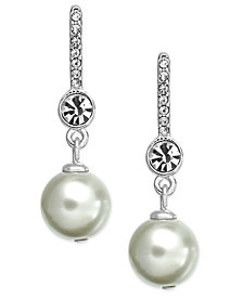 Lauren Ralph Lauren Silver-Tone Crystal and Imitation Pearl Drop Earrings