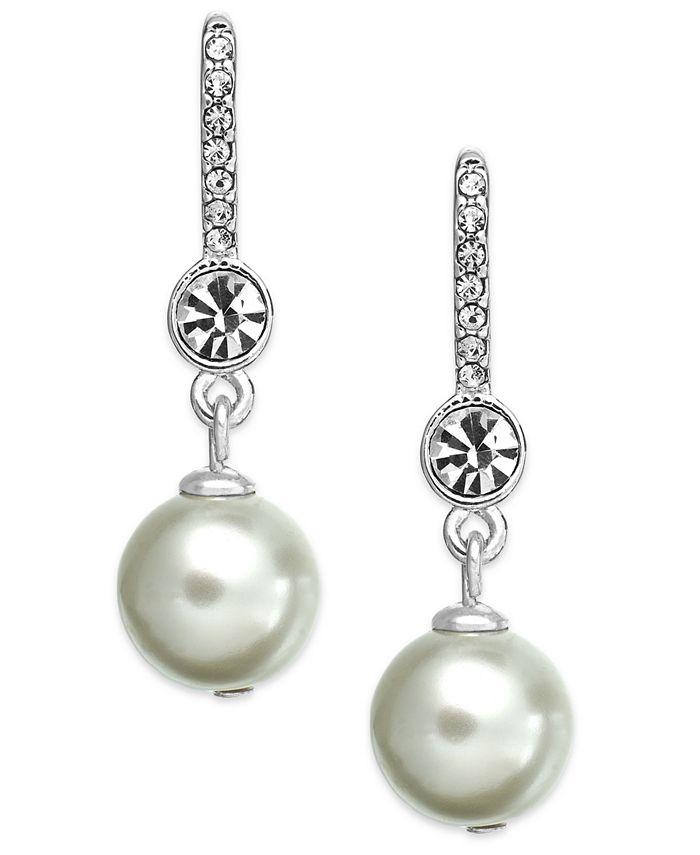 Lauren Ralph Lauren - Silver-Tone Crystal and Imitation Pearl Drop Earrings