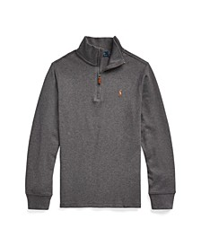 Big Boys Cotton Interlock Quarter-Zip Pullover Top