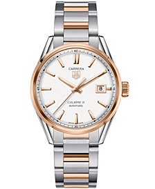 TAG Heuer Men's Swiss Automatic Carrera Calibre 5 Two-Tone Stainless Steel Bracelet Watch 39mm WAR215D.BD0784