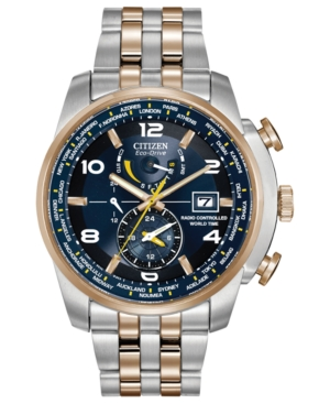 Citizen Men's Eco-Drive World Time A-t Two-Tone Stainless Steel Bracelet Watch 47mm AT9014-51L - A Macy's Exclusive