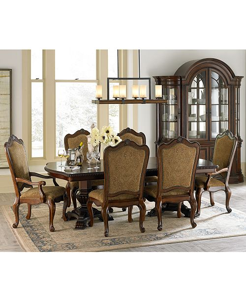 Furniture Lakewood 9 Piece Dining Room Set Double Pedestal Table 6 Side Chairs 2 Arm Macy S