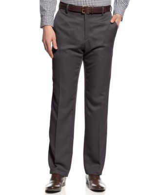 Kenneth Cole Regular Fit Charcoal Gray Heather Washable Flat Front Dress Pants