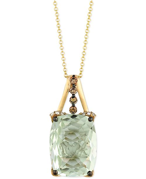 Le Vian  Green Amethyst (9-3/4 ct. t.w.), Chocolate Diamond (1/4 ct. t.w.) and White Diamond Accent Pendant Necklace in 14k Gold