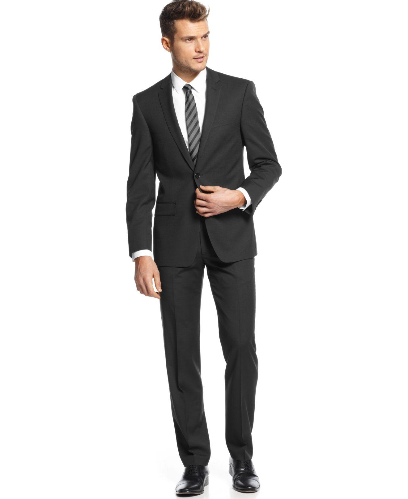 DKNY Black Pindot Suit Separates Extra Slim Fit - Suits & Suit