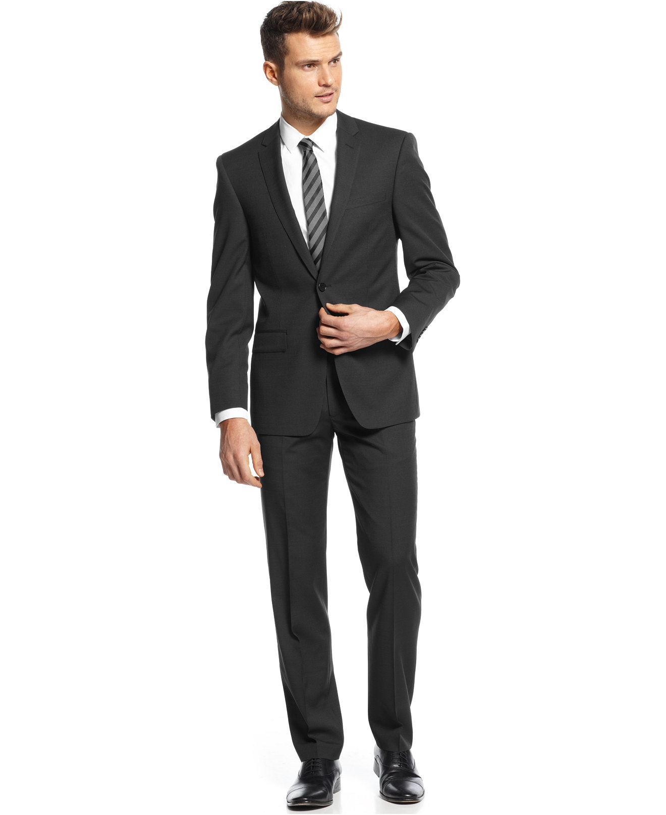 DKNY Black Pindot Suit Separates Extra Slim Fit - Suits & Suit