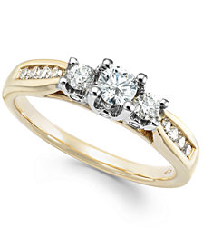 Diamond Trinity Engagement Ring (1/2 ct. t.w.) in 14k Rose Gold, Yellow Gold and White Gold
