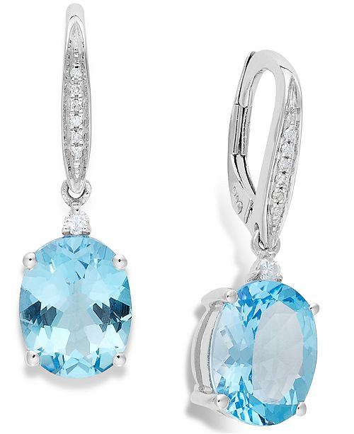 Macy's Blue Topaz (5-1/2 ct. t.w.) and Diamond Accent Oval Drop Earrings in 14k White Gold