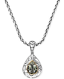 Balissima by EFFY® Green Quartz Pear Pendant Necklace in 18k Gold and Sterling Silver (2-3/4 ct. t.w.)