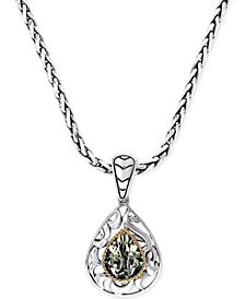Balissima by EFFY Green Quartz Pear Pendant Necklace in 18k Gold and Sterling Silver (2-3/4 ct. t.w.)