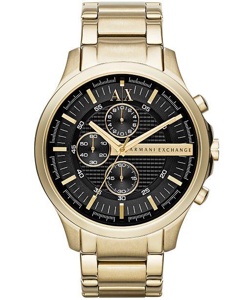 Armani Exchange A|X Men's Gold-Tone Stainless Steel Bracelet Watch 46mm AX2137