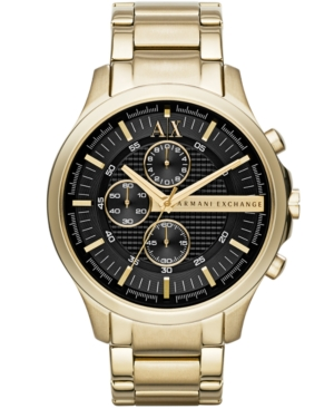 AX Armani Exchange Men's Gold-Tone Stainless Steel Bracelet Watch 46mm AX2137