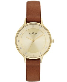 Women's Anita Saddle Leather Strap Watch 30mm SKW2147