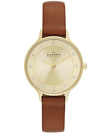 Skagen Women's Anita Saddle Leather Strap Watch 30mm SKW2147