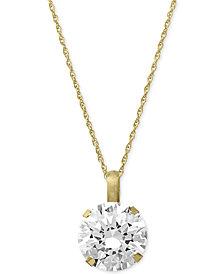 Swarovski Zirconia Round Pendant Necklace in 14k Gold (3-1/3 ct. t.w.)