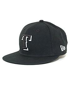 Kids' Texas Rangers MLB Black and White Fashion 59FIFTY Cap