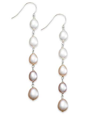 Multi Colored Cultured Freshwater Pearl Linear Earrings In Sterling Silver 7mm