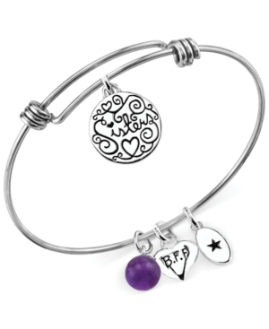 Unwritten Sisters Charm and Amethyst (8mm) Bangle Bracelet in Stainless Steel