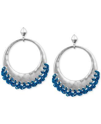 The Sak Silver-Tone Blue Crochet-Edged Hoop Earrings