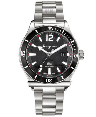Ferragamo Men's Swiss 1898 Stainless Steel Bracelet Watch 43mm FF3130014