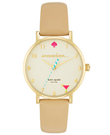 kate spade new york Women's Metro Vachetta Leather Strap Watch 34mm 1YRU0484