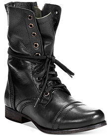 Steve Madden Women's Troopa Lace-up Combat Boots