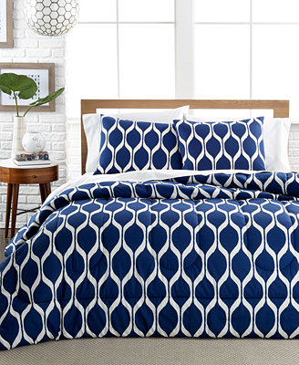Closeout Ogee Onda Navy 3 Piece Comforter And Duvet Cover