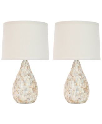 Safavieh Set of 2 Lauralie Ivory Capiz Shell Lamps - Lighting ...