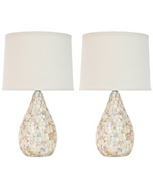 Safavieh Set of 2 Lauralie Ivory Capiz Shell Lamps
