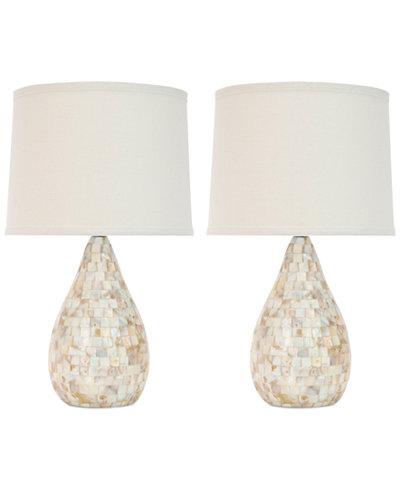 Safavieh Set of 2 Lauralie Ivory Capiz Shell Lamps