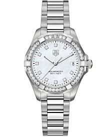 TAG Heuer Women's Swiss Aquaracer Diamond (9/20 ct. t.w) Stainless Steel Bracelet Watch 32mm