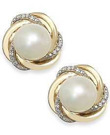 Cultured Freshwater Pearl (7mm) and Diamond Accent Knot Stud Earrings in 14k Gold