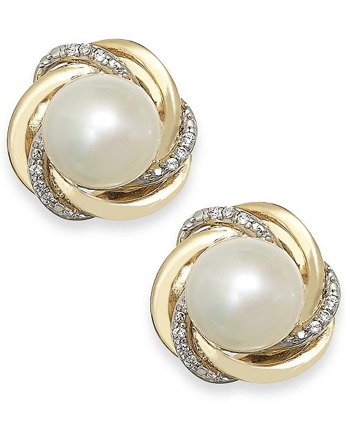 Macy's Cultured Freshwater Pearl (7mm) and Diamond Accent Knot Stud Earrings in 14k Gold