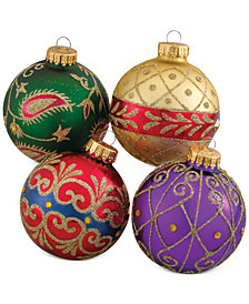 kurt adler set of 4 imperial design glass ornaments - Glass Christmas Ornaments