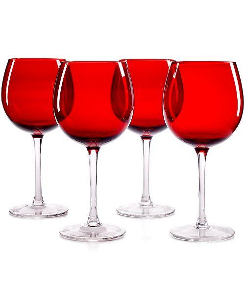 Glware Set Of 4 Ruby Balloon Wine Gles