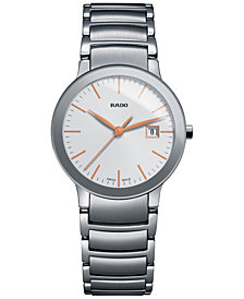 Rado Women's Swiss Centrix Stainless Steel Bracelet Watch 28mm R30928123