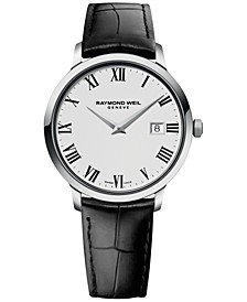 Men's Swiss Toccata Black Leather Strap Watch 39mm 5488-STC-00300