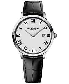 RAYMOND WEIL Men's Swiss Toccata Black Leather Strap Watch 39mm 5488-STC-00300