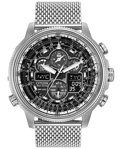 ... Citizen Men s Chronograph Navihawk Eco-Drive Stainless Steel Mesh  Bracelet Watch 48mm JY8030- ... 251254118
