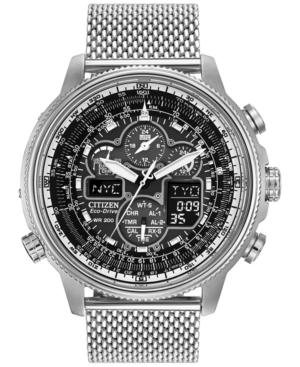 Citizen Men's Chronograph Navihawk Eco-Drive Stainless Steel Mesh Bracelet Watch 48mm JY8030-83E