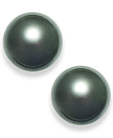Tahitian Pearl (14mm) Stud Earrings in 14k White Gold