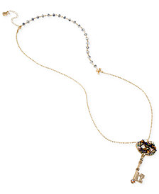 Betsey Johnson Gold-Tone Crystal Cluster Key Pendant Necklace