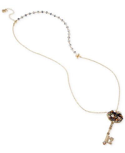 Betsey Johnson Gold-Tone Crystal Cluster Key Pendant Necklace